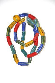 Ghana Necklace -Multi Colors Ghana Recycled Glass Bead Necklace & Bracelets Set