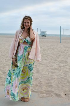 Floral Maxi Dress — skyline blossoms   Mara Hoffman maxi dress, Joie pink linen blazer, Jimmy Choo heeled sandals, The Ropes Bracelet, pink and green, palm print