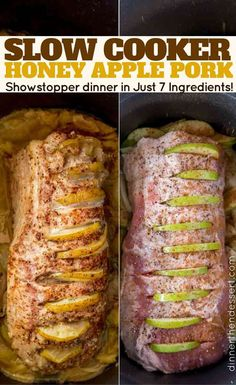 Slow Cooker Honey Apple Pork Loin - Dinner, then DessertYou can find Pork loin recipes and more on our website.Slow Cooker Honey Apple Pork Loin - Dinner, then Dessert Pork Tenderloin Recipes, Roast Recipes, Apple Stuffed Pork Tenderloin, Pork Loin Steak Recipes, Pork Loun, Apple Pork Chops, Pork Tacos, Beef Tenderloin, Slow Cooking