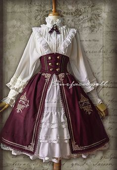 Surface Spell -Unfinished Book- Vintage High Waist Lolita Corset Embroidery Skirt
