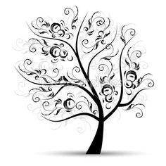 Art arbre magnifique, de la silhouette noire — Illustration #3606442