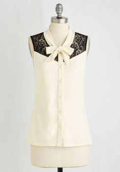 Make a Mission Statement Top in Ivory. This brilliant button-up blouse is a truly elegant testament to your taste! #cream #modcloth