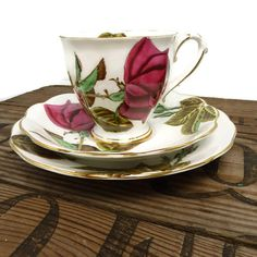 Trio Tea Cup Set  1940's Hand Painted China  by pinkneonvintage