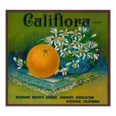 Califlora Orange LabelRiverside, CA Poster