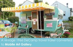 Happy Camper Mobile Art Gallery - a vintage 1966 DeCamp travel trailer converted to mobile art gallery featuring the contemporary paintings of artist Kristina Wentzell