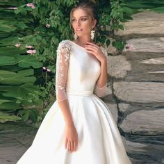 onlybridals O-neck Sleeves Beading Applique Satin A-line Wedding Dress Train Lace-up High Quality Bridal Dress Wedding Dress Train, Top Wedding Dresses, Wedding Dress Trends, Wedding Dress Sleeves, Princess Wedding Dresses, Designer Wedding Dresses, Bridal Dresses, Wedding Gowns, Dresses With Sleeves