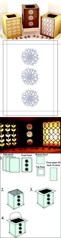 Square paper lantern party decoration from easy paper crafts. With free PDF and die cut templates, here: http://www.easypapercrafts.com/index.php/party-decorations/121-square-paper-party-lantern #Silhouette #Cameo #free #template