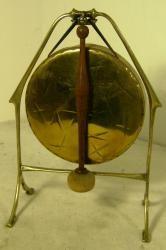 c1910 art nouveau brass dinner gong, stand & hammer