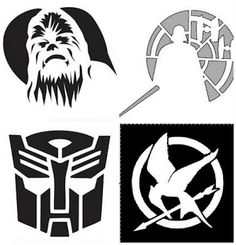 Freezer Paper Stencils from pumpkin carving stencils. Make into face stencils? Star Wars Birthday, Star Wars Party, Pumpkin Stencil, Pumpkin Carving, Anniversaire Star Wars, Freezer Paper Stenciling, Geek Crafts, Silhouette Cameo Projects, Silhouette Curio