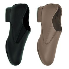 Capezio CG18 Riff Slip On Tap Shoe.  Make all your movements radiate in the Riff Slip-On Tap Shoe. This leather, split-sole shoe was designed with flexibility, foot articulation and ease of toe stands in mind. Top features include the strong toe box, foam padded footbed and gore inserts. High quality Capezio® Tele Tone® toe and heel taps mounted on fiberboards produce a deeper resonating sound. No laces eliminate the worry of the shoe coming undone.  www.dancinginthestreet.com Tap Shoes, Dance Shoes, Non Slip Socks, Plastic Heels, Shoe Boots, Slip On, Wedges, Leather, Accessories