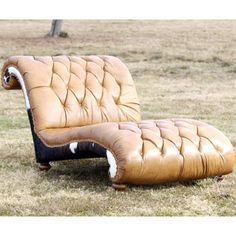 Caramel Latte Tufted Leather Chaise... I want this :)