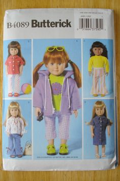 18 Inch Doll Clothes Pattern Butterick 4089 via Etsy