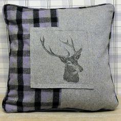Grey & Purple Deer Stags Head Check Tartan Filled Cushion