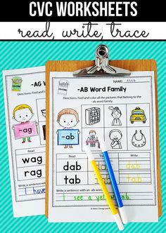 This set of CVC printable worksheets includes some fun reading, writing, tracing, coloring, and finding CVC words and word families. Your students will practice reading and write with over 30 word familes to choose from. Perfect phonics activity for morning work, literacy tubs, homework and more.  #cvc #cvcwords #wordfamilies #writing