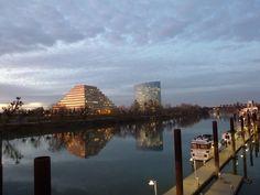 View toward West Sacramento of the Sacramento River at dusk.