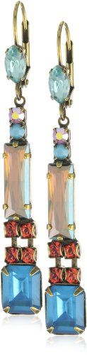"Sorrelli ""Tropical"" Linear Crystal Drop Gold-Tone Earrings"