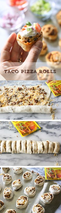 Looking for a new twist on taco night - or a delicious appetizer to share? Try these Taco Pizza Rolls from @GirlWhoAte! Roll up Old El Paso™ seasoned taco meat and cheese, and bake! Voila! They're ready in 25 minutes and sure to please your hungry crowd!