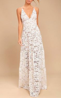Dress The Population Melina White Lace Maxi Dress via @bestmaxidress
