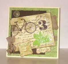 Stamps: Postage Due, Friends 24-7 Paper: vanilla, old dp, chocolate chip, crumb cake Ink: versamark, choco chip, certainly celery, crumb cake Accessories: UTEE, antique brad, label punch