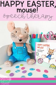 Happy Easter, Mouse! is a great Easter themed book for speech-language therapy or the regular education classroom! You can use this book to work on a variety of language skills such as color vocabulary, prepositions, and more! #speechtherapy #languagetherapy