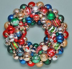 Christmas Wreath Red Green Blue Vintage Ornaments by judyblank, $225.00