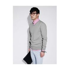 Buy Light Grey Slim-Fitting V-Neck Long Sleeves Cotton Men Shirt... via Polyvore