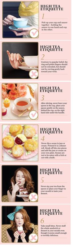 High Tea Manners - 6 rules <---- this is actually properly referred to as Afternoon Tea. High Tea is a working class meal between lunch and dinner and typically has things like beans, sliced meats, boiled eggs, etc. Tea Etiquette, Dining Etiquette, Etiquette And Manners, Scones, Tee Sandwiches, High Tea Sandwiches, Simply Yummy, Party Set, Afternoon Tea Parties