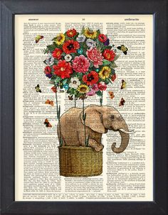 Flying Elephant art print Colorful flowers balloon DICTIONARY Print poster Dorm decor Home Wall decor gift poster USD) by Natalprint Image Elephant, Elephant Love, Elephant Art, Elephant Trunk, Art Floral, Elephant Poster, Etiquette Vintage, Balloon Flowers, Air Balloon