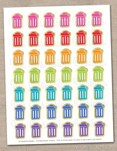 Instant Download Printable Planner Stickers Garbage Cans for Trash Day Printable PDF