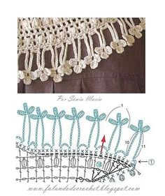 """Chain loopy edging with clovers on the ends of the loops  """"FALANDO DE CROCHET"""": FRANJA DE CROCHÉ PINGENTES PUFFS"""