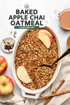 This Apple Chai Baked Oatmeal is the warm & cozy solution to your mornings. Hearty, FULL of Fall flavors, & ridiculously easy to make, this recipe also happens to be Vegan, Gluten-Free, & Oil-Free! Vegan Gluten Free Breakfast, Vegetarian Breakfast, Vegan Breakfast Recipes, Brunch Recipes, Breakfast Ideas, Healthy Breakfasts, Vegan Oatmeal, Baked Oatmeal, Oatmeal Recipes