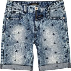 Boys medium wash triangle denim shorts