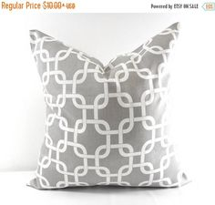 SALE Grey Pillow Cover. Grey chain link. Grey and white