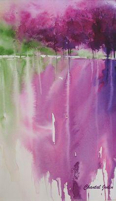 Watercolor by Chantal Jodin #watercolor jd interesting color choice.