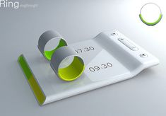 Couples alarm clock. Rings that you wear for seperate wake up times. The rings vibrate to wake you but not your partner