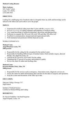 Medical Coder Free Resume Samples Medical Coding Medical