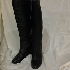 """Steven by Steve Madden Black Leather Maryn Steve Madden Maryn black leather knee high boots with functional zipper on the back heel. Overflap leather on back side. Steve Madden style Maryn made in Brazil. Size 8 with an approximate heel height of 3"""". There is very minimal wear as I only wore them a few times and realized I bought them to small. Heels are a little worn but not that noticeable. This is a steal at $49.00 retail is $180.00. Just want someone to enjoy them and make space in my…"""