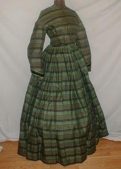 Striking 1860's Green & Black Plaid Silk Vintage Dress