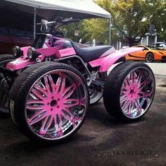 Pink Wheels ☆ Girly Cars for Female Drivers! Love Pink Cars ♥ It's the dream car for every girl ALL THINGS PINK! Hope she likes it :) Pink Wheels, Car Wheels, Quad, Triumph Motorcycles, Cars And Motorcycles, Custom Motorcycles, Custom Bikes, Bobbers, Mopar
