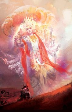 Bhagwan Vishnu (the preserver of Bramhand (cosmos)) showings the ultimate truth and powers of life and death to pandav putra Parth (Arjun).