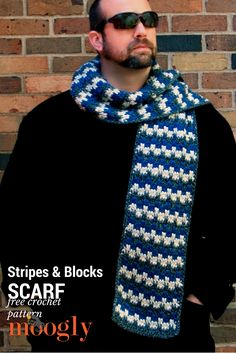 Stripes & Blocks Scarf - FREE crochet pattern on Moogly! Now including instructions for SUPER SCARF Size! Crochet Mens Scarf, Crochet Scarves, Crochet Hats, Crochet Blankets, Men's Scarves, Crochet Hoodie, Crochet Clothes, All Free Crochet, Crochet Blanket Patterns