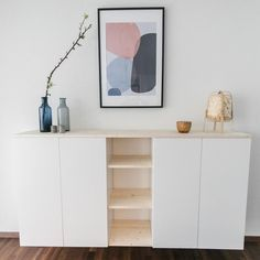 Ikea Buffet, Ikea Sideboard Hack, Ikea Eket, Wooden Shelves, Sweet Home, Interior Design, Ikea Interior, Living Room, Furniture