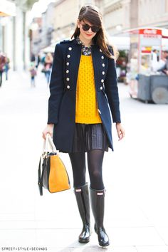 Navy coat, winter must have classic: With pleated leather mini skirt, Hunter…