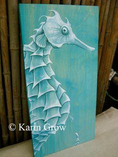 Painting - love it! Seahorse Painting, Seahorse Art, Seahorses, Beach Mural, Beach Art, Coastal Art, Ocean Art, Folk, Pics Art