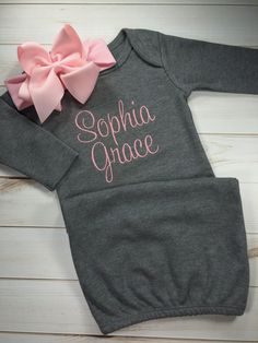 Excuse the spit up ohio state or your favorite team monogrammed baby girl coming home outfit monogram gown with matching bow headband personalized baby gown baby shower gift newborn custom pink negle Choice Image