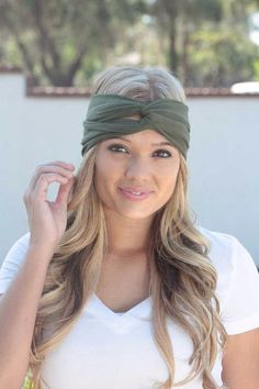 Olive Green Turban  Womens Solid Jersey Turban by itsexclusive