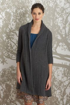 Ravelry: Winged Jacket pattern by Lion Brand Yarn Black Crochet Dress, Crochet Coat, Crochet Jacket, Crochet Cardigan, Crochet Scarves, Crochet Clothes, Crochet Sweaters, Crochet Dresses, Crochet Mittens Free Pattern