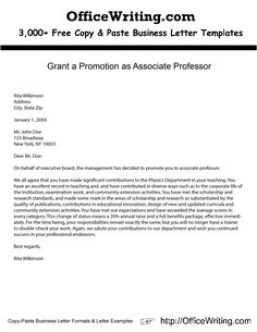 Application letter for promotion to associate professor