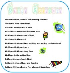 Daily Schedule - Home daycare in Port St John, Fl 32927 - DiMagio Home Daycare Schedule, Daily Schedule Preschool, Toddler Schedule, Preschool At Home, Preschool Activities, Classroom Schedule, Teach Preschool, Classroom Ideas, Daycare Rooms