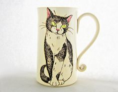 Black & White Cat Mug, pottery mug, Christmas gift, tuxedo cat, cat art, animal art, holds approx 18 oz, dishwasher and microwave safe.